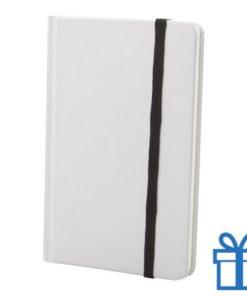 Notitieboek karton wit  band kleur zwart bedrukken