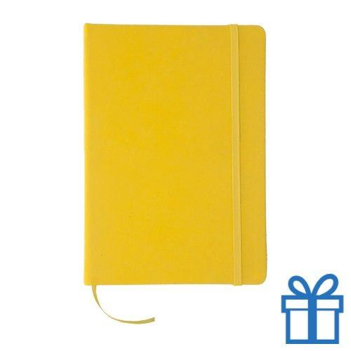 Notitieboek leer sluiting geel bedrukken