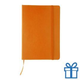 Notitieboek leer sluiting oranje bedrukken