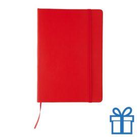 Notitieboek leer sluiting rood bedrukken