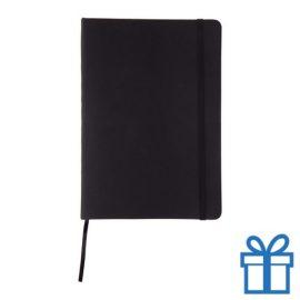 Notitieboek leer sluiting zwart bedrukken