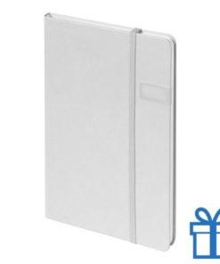 Notitieboek met USB geheugen 8GB wit bedrukken