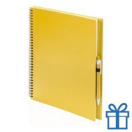 Notitieboek spiraal A4 geel bedrukken