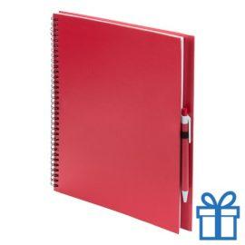 Notitieboek spiraal A4 rood bedrukken