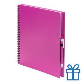 Notitieboek spiraal A4 roze bedrukken
