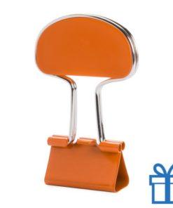 Notitieclip gekleurd oranje bedrukken