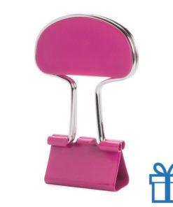 Notitieclip gekleurd roze bedrukken