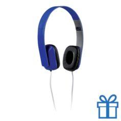 Opvouwbare plastic hoofdtelefoon blauw bedrukken