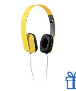 Opvouwbare plastic hoofdtelefoon geel bedrukken