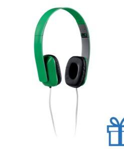 Opvouwbare plastic hoofdtelefoon groen bedrukken