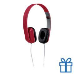 Opvouwbare plastic hoofdtelefoon rood bedrukken