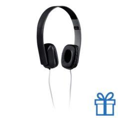 Opvouwbare plastic hoofdtelefoon zwart bedrukken