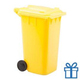 Penhouder minicontainer geel bedrukken