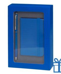 Pennenset mini notitieboek blauw bedrukken