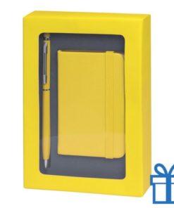 Pennenset mini notitieboek geel bedrukken