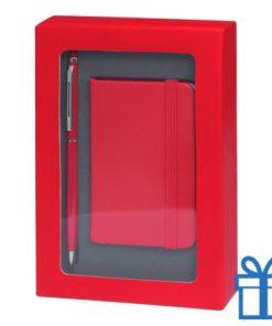 Pennenset mini notitieboek rood bedrukken