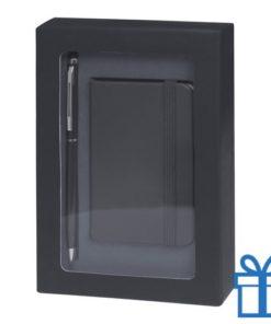 Pennenset mini notitieboek zwart bedrukken