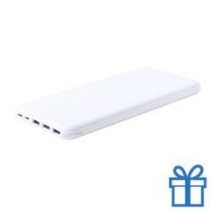 Power bank 20000 mAh draadloze oplader USB type C wit bedrukken