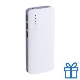 Powerbank 10000 mAh 3 USB poorten lichtgrijs bedrukken