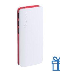 Powerbank 10000 mAh 3 USB poorten rood bedrukken