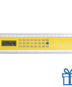 Rekenmachine liniaal 20cm lang goedkoop geel bedrukken