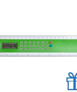 Rekenmachine liniaal 20cm lang goedkoop groen bedrukken