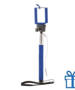Selfie stick ontspanknop blauw bedrukken