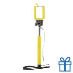 Selfie stick ontspanknop geel bedrukken