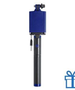 Selfie stok met power bank 2200 mAh blauw bedrukken