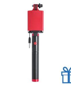 Selfie stok met power bank 2200 mAh rood bedrukken