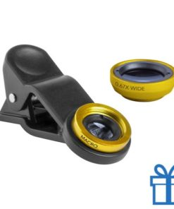 Smartphone lens set van 2 geel bedrukken