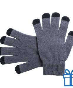 Touch screen handschoenen grijs bedrukken