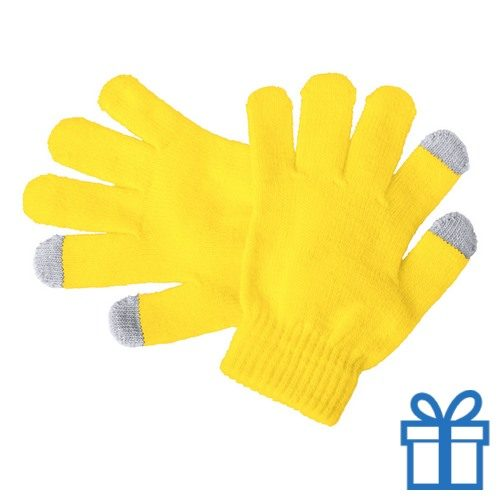 Touch screen handschoenen voor kinderen geel bedrukken