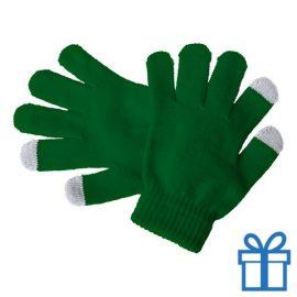 Touch screen handschoenen voor kinderen groen bedrukken