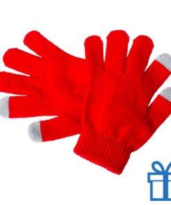 Touch screen handschoenen voor kinderen rood bedrukken