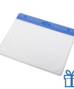 Transparante pashouder blauw bedrukken