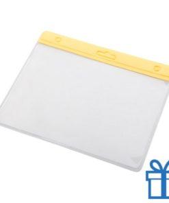Transparante pashouder geel bedrukken