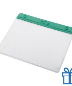 Transparante pashouder groen bedrukken