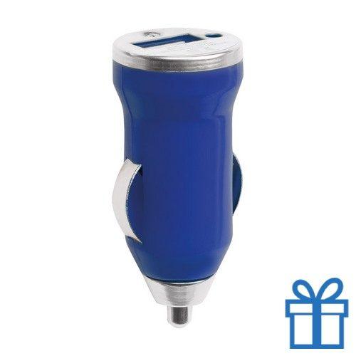 USB auto oplader goedkoop 1000mA blauw bedrukken