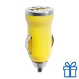USB auto oplader goedkoop 1000mA geel bedrukken