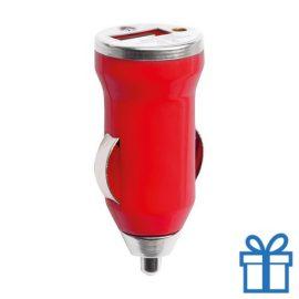 USB auto oplader goedkoop 1000mA rood bedrukken