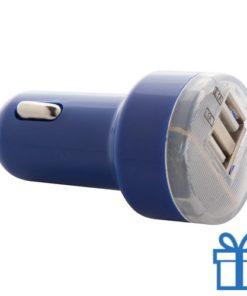USB auto oplader goedkoop 2100 mAh blauw bedrukken