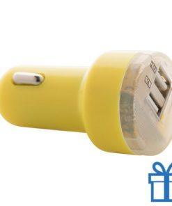 USB auto oplader goedkoop 2100 mAh geel bedrukken