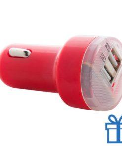 USB auto oplader goedkoop 2100 mAh rood bedrukken