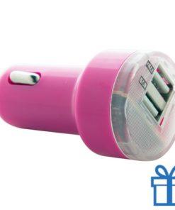 USB auto oplader goedkoop 2100 mAh roze bedrukken