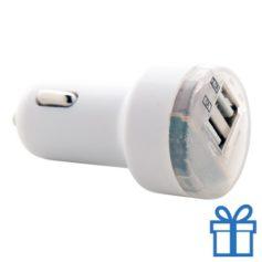 USB auto oplader goedkoop 2100 mAh wit bedrukken