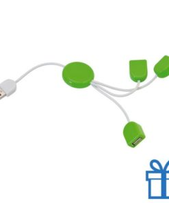 USB hub 3 poorten slinger groen bedrukken