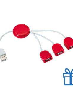 USB hub 3 poorten slinger rood bedrukken