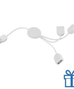 USB hub 3 poorten slinger wit bedrukken