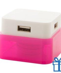 USB hub 4 poorten 2.0 roze bedrukken